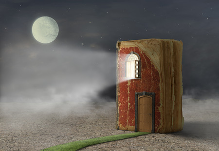 Photo pour Concept of reading. Magic book with door and shining window. Book stay on ground. Concept of dreaming. - image libre de droit