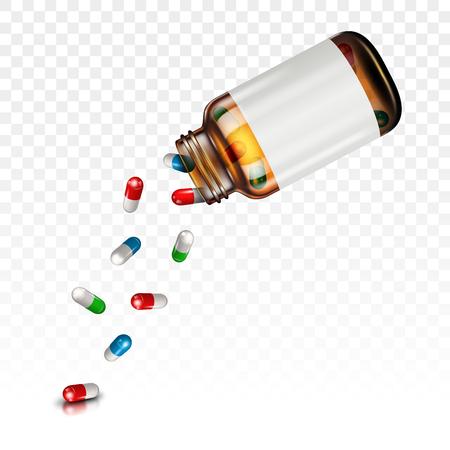 Illustration pour Pills falling from a jar on a transparent background - image libre de droit