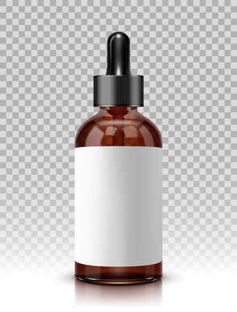 Realistic vector glass bottle with dropper for cosmetics and medicines