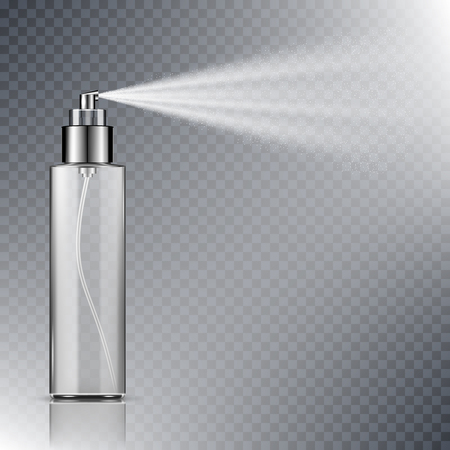 Illustration pour Spray bottle, blank container with spraying mist isolated on transparent background - image libre de droit