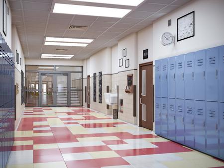 Foto de school hallway interior 3d illustration - Imagen libre de derechos