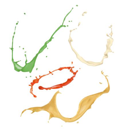 Photo pour set of bursts of sauces on a white background - image libre de droit