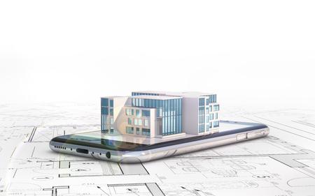 Foto de Architect plans, on which the smartphone lies and the layout of the house - Imagen libre de derechos