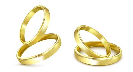 Illustration pour gold wedding rings isolated on white - image libre de droit