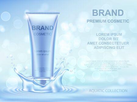 Illustration pour Aqua Moisturizing cosmetics ads template. Realistic cream container and water splash on blue background. - image libre de droit
