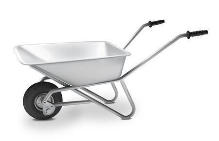 Illustration for metal wheelbarrow for construction. Vector illustration. - Royalty Free Image