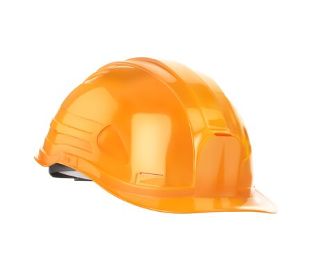 Illustration for Orange construction helmet. Vector illustration is isolated on a white background. - Royalty Free Image