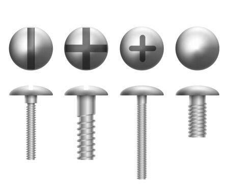 Illustration pour set of metal shiny screws and bolts. Vector illustration - image libre de droit