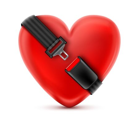 Illustration pour Seat Belt around the red heart. Safety and insurance concept. - image libre de droit