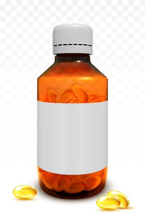 Illustration pour Fish oil capsules in a glass bottle - image libre de droit