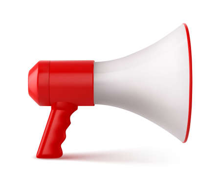 Illustration pour Red and White Megaphone Isolated on White Background. Vector illustration - image libre de droit
