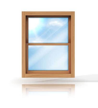 Illustration pour White narrow window in side view on a transparent background. vector illustration - image libre de droit