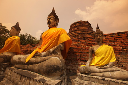 Wat Yai Chai temple in the temple city of Ayutthaya north of Bangkok in Thailand