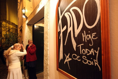 One of several Fado bars with live fado music and good food in the neighborhood Alfama, the old town of Lisbon in Portugal