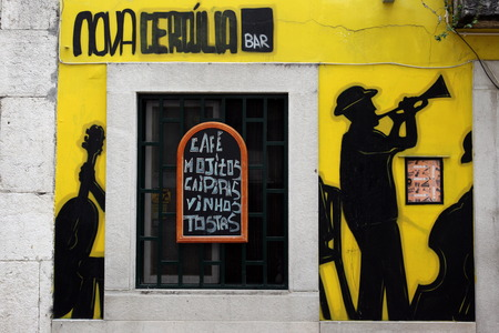 A Fado restaurant in an alley in the old town of Alfama in the downtown area of the capital city of Lisbon in Portugal