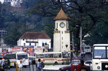 The clock tower in the center of Kandy in the Central Gebierge of Sri Lanka