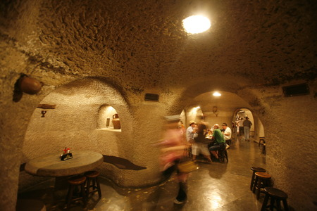 a restaurant in a cave in the Barranco de Guayadeque in the Aguimes valley on the Canary Iceland of Spain in the Atlantic ocean.