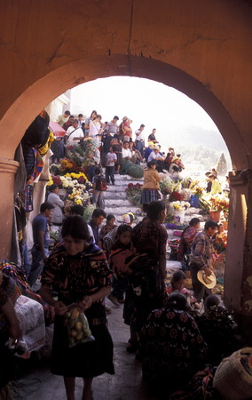 people in traditional clotes in the Village of  Chichi or Chichicastenango in Guatemala in central America.