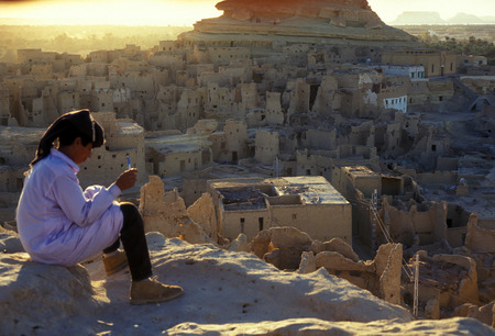the village of the oasia of siwa in the sahara desert in Egypt in North Africa.