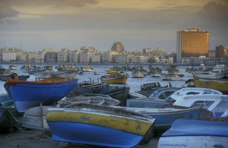 the coast at the al corniche road in the city of Alexandria on the Mediterranean sea in Egypt in north africa