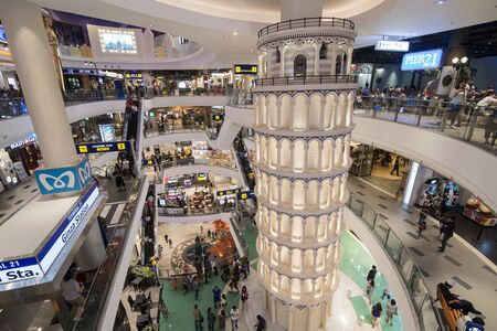 the interior architecture of the Terminal 21 Shopping Mal in the city of Pattaya in the Provinz Chonburi in Thailand.  Thailand, Pattaya, November, 2018