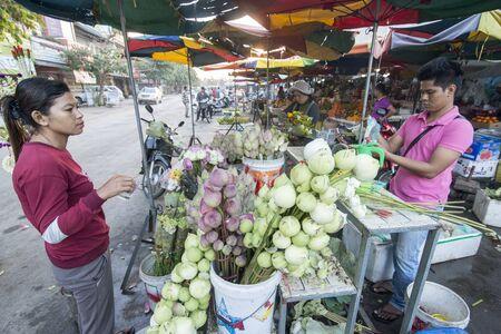 fresh flowers at the Psar Nat market in the city centre of Battambang in Cambodia.  Cambodia, Battambang, November, 2018
