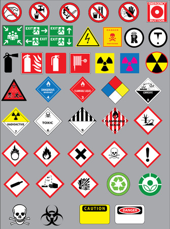 Warning and safety signs vector set