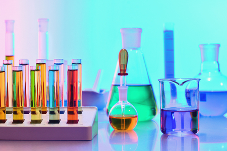 Photo for Laboratory glassware with colorful chemicals and reagents, chemistry science - Royalty Free Image