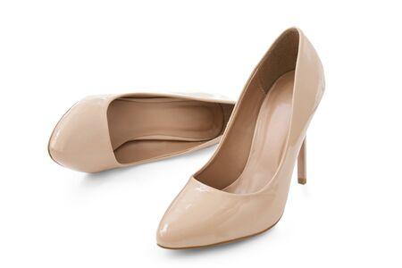 Photo pour female  elegant shoes , beige color on white background - image libre de droit