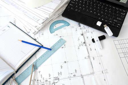Foto de Background. drawing tools and netbook - Imagen libre de derechos