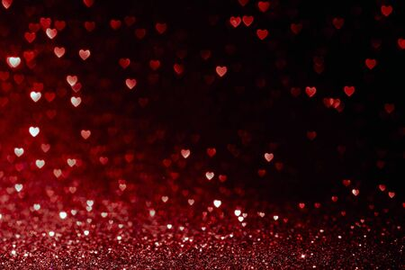 Photo pour valentines day background with red hearts glitter bokeh on black, card for Valentine's day, christmas and wedding celebration, Love bokeh shiny confetti textured template - image libre de droit