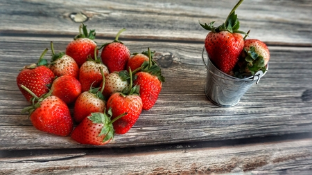 Photo for Fresh strawberries on wooden table. - Royalty Free Image