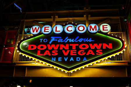 Photo for Welcome to Fabulous Downtown Las Vegas sign at Fremont Street in Las Vegas, USA.It is an internationally renowned resort city known primarily for gambling - Royalty Free Image