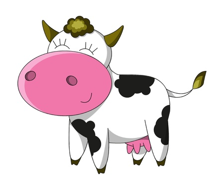 Happy cow cartoon character isolated