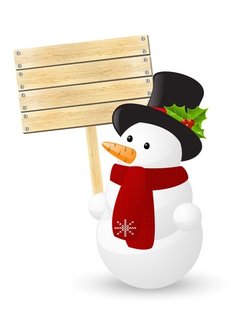 Cute snowman with wooden plate