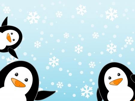 Penguin family on winter background