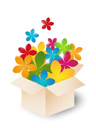 Gift box with color flowers