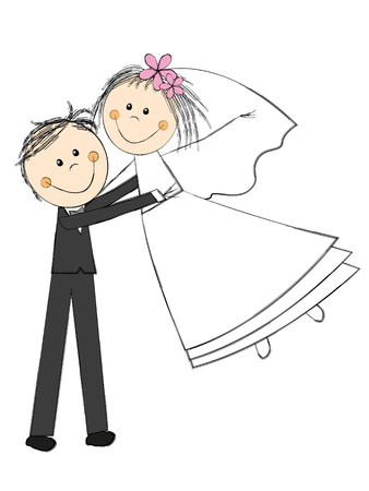 Foto de Happy wedding couple on white - Imagen libre de derechos