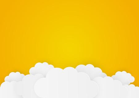 Paper clouds on orange background