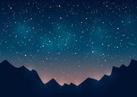 Ilustración de Mountains silhouettes on starry sky background - Imagen libre de derechos