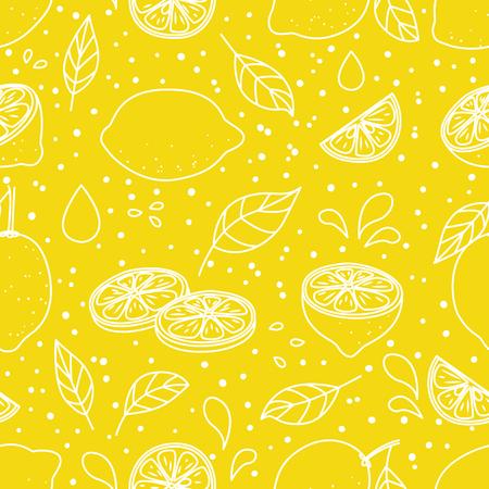 Ilustración de Seamless pattern with juicy lemons - Imagen libre de derechos