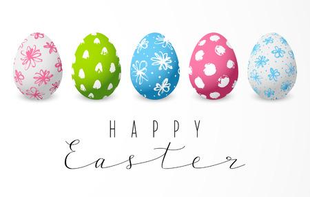 Illustration pour Set of color decorated Easter eggs - image libre de droit