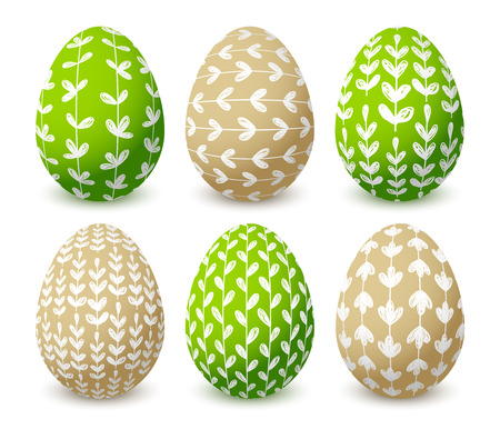Set of Easter eggs with floral ornates