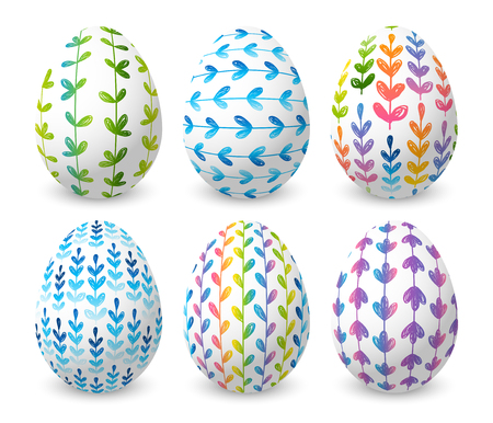 Set of Easter eggs with color floral ornates