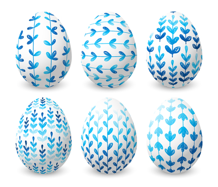 Set of Easter eggs with blue floral ornates