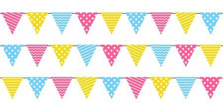 Illustration pour Seamless border with birthday party color flags - image libre de droit