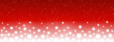 Illustration for Shiny stars on red background - horizontal panoramic banner for your design - Royalty Free Image
