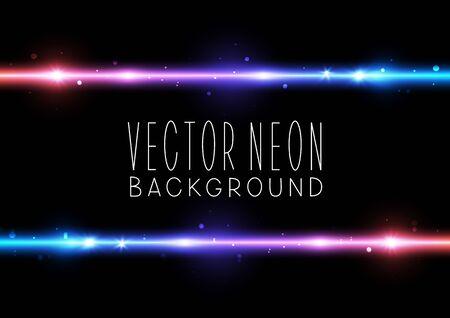 Illustration for Bright neon horizontal border on black background - vector shiny elements - Royalty Free Image