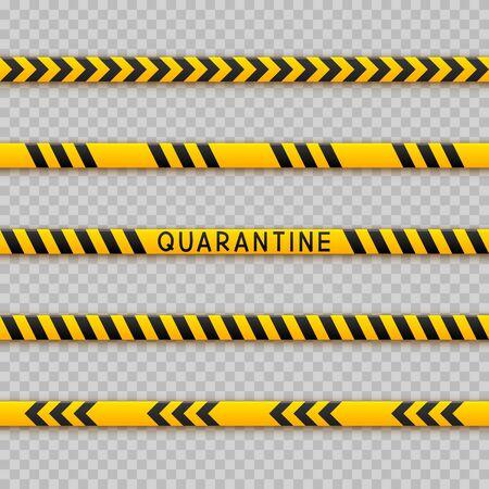 Illustration pour Set of seamless signal tape borders for quarantine coronavirus design on transparent background - image libre de droit