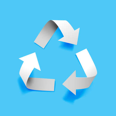 Illustration for Vector paper recycling symbol on blue background for eco aware design - Royalty Free Image